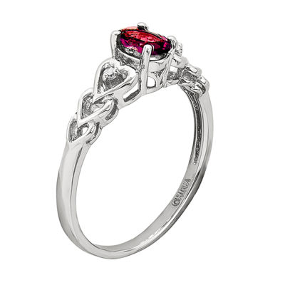 Womens Red Lab-Created Oval Ruby and Diamond Accent Ring in Sterling Silver