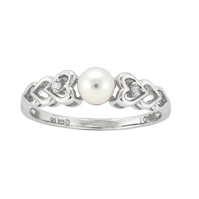 Womens Diamond Accent White Cultured Freshwater Pearl Sterling Silver Delicate Cocktail Ring