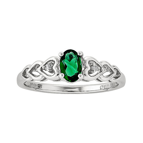 Womens Diamond Accent Lab Created Emerald Sterling Silver Delicate Ring