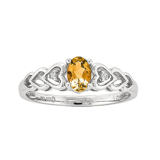 Womens Diamond Accent Genuine Yellow Citrine Sterling Silver Delicate Cocktail Ring