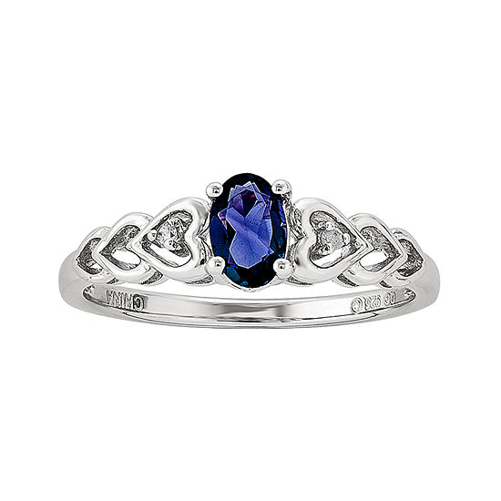 cd483f637b6 Womens Diamond Accent Blue Sapphire Sterling Silver Delicate Ring JCPenney