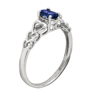 Womens Diamond Accent Lab Created Blue Sapphire Sterling Silver Delicate Ring