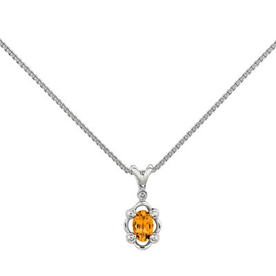 Womens Diamond Accent Citrine Sterling Silver Pendant Necklace