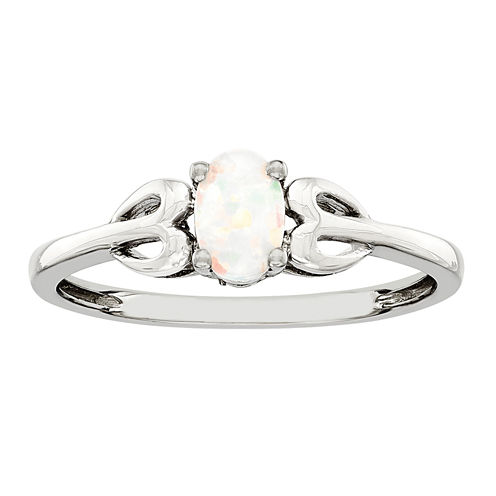 Womens Lab Created White Opal Sterling Silver Delicate Ring