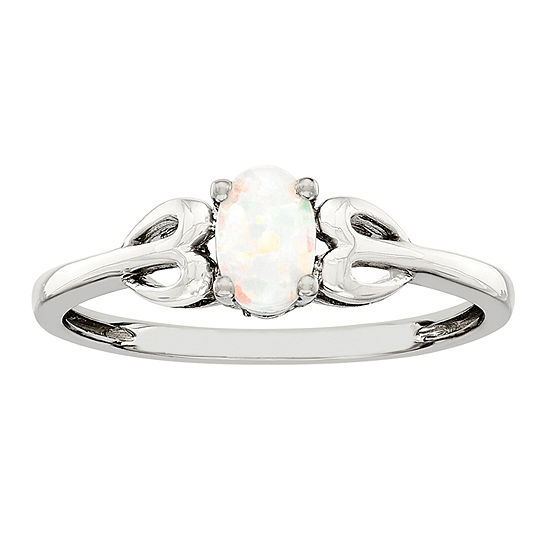 Womens Lab Created White Opal Sterling Silver Delicate Cocktail Ring