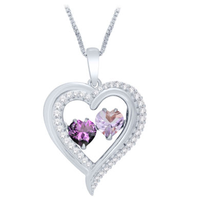 Love in Motion™ Genuine Amethyst & Lab-Created White Sapphire Heart Pendant Necklace in Sterling Silver
