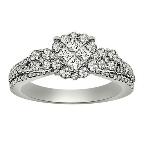 Womens 1 CT. T.W. Genuine Princess White Diamond Platinum Engagement Ring