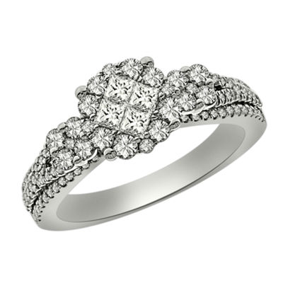 Womens 1 CT. T.W. Princess White Diamond Platinum Engagement Ring