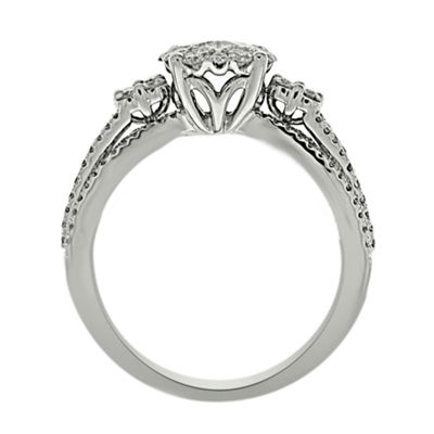 Womens 1 CT. T.W. Genuine White Diamond Platinum Engagement Ring