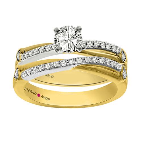 Eterno Amor Womens 3/4 CT. T.W. Genuine White Diamond 14K Gold Bridal Set