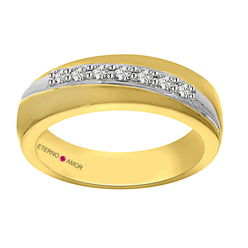 Eterno Amor Mens 1/5 CT. T.W. Genuine White Diamond 14K Gold Band