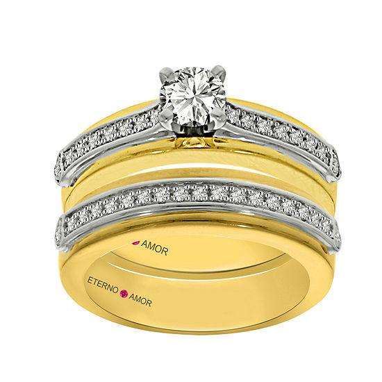 Eterno Amor Womens 3 4 Ct Tw Genuine White Diamond 14k Gold Bridal Set
