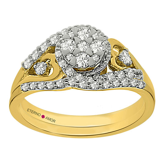 Eterno Amor Womens 5 8 Ct Tw Genuine White Diamond 14k Gold Bridal Set