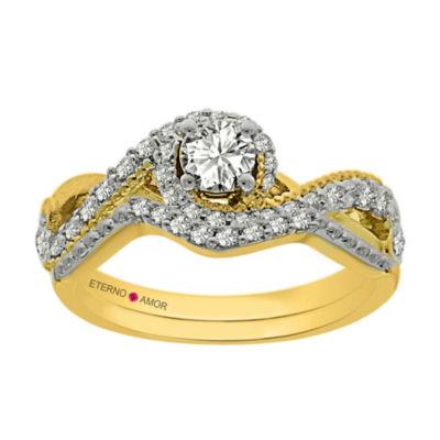 Eterno Amor Womens 5/8 CT. T.W. Genuine White Diamond 14K Gold Bridal Set