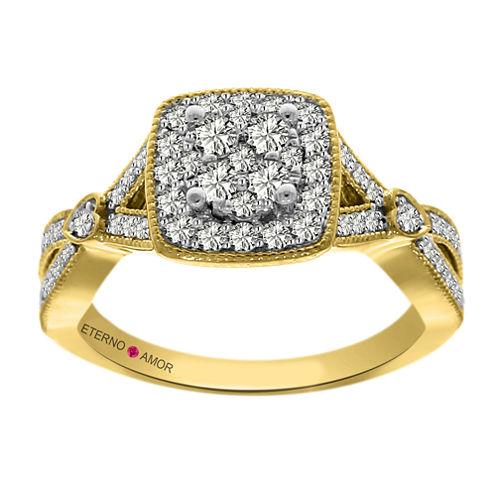 Eterno Amor Womens 5/8 CT. T.W. Genuine Round White Diamond 14K Gold Engagement Ring