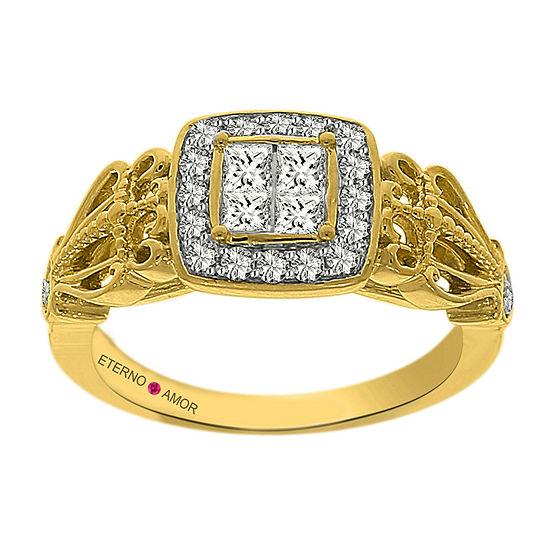 Eterno Amor Womens 5/8 CT. T.W. Genuine White Diamond 14K Gold Engagement Ring