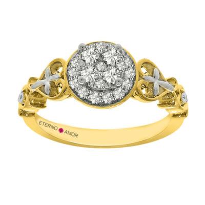 Eterno Amor Womens 3/8 CT. T.W. Genuine Round White Diamond 14K Gold Engagement Ring