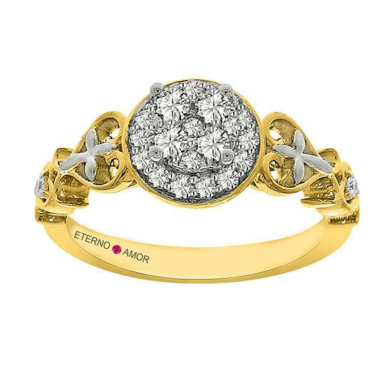 Eterno Amor Womens 3/8 CT. T.W. Genuine White Diamond 14K Gold Engagement Ring