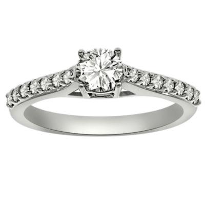 Womens 3/4 CT. T.W. Genuine Round White Diamond Platinum Engagement Ring