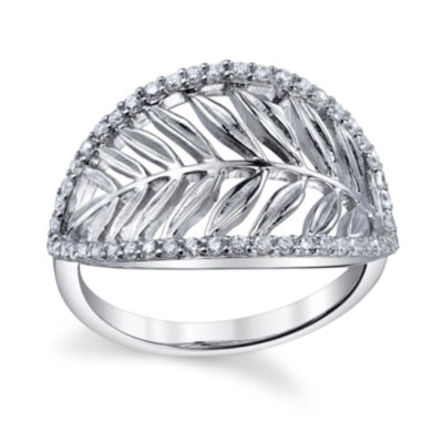 Womens White Cubic Zirconia Sterling Silver Band