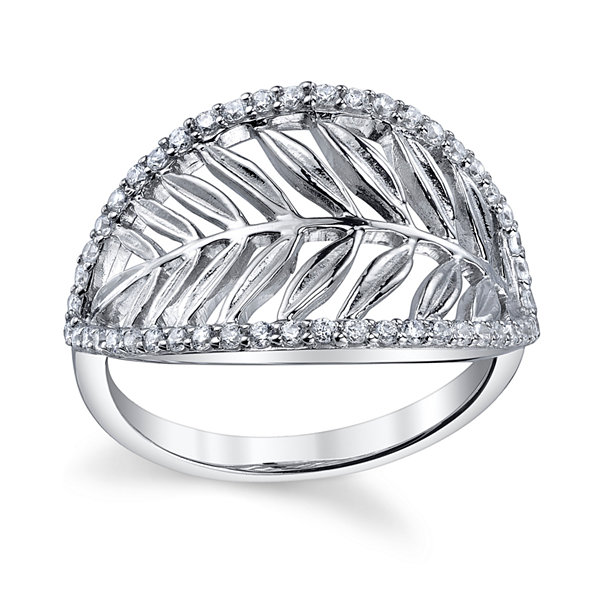 Womens White Cubic Zirconia Band