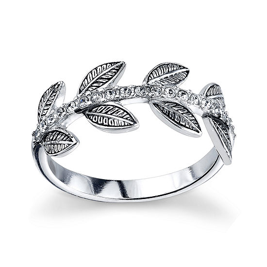Womens Genuine White Crystal Sterling Silver Band