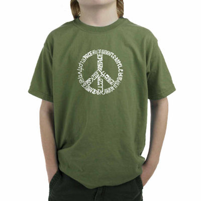 Los Angeles Pop Art Word Peace  Graphic Boys T-Shirt