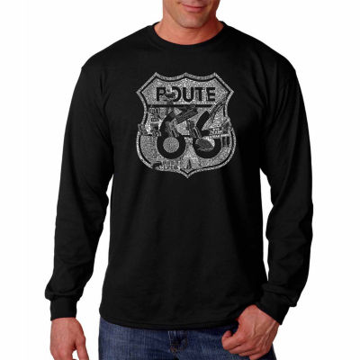 """Los Angeles Pop Art Graphic """"Attractions And Stops"""" Word Art Long Sleeve T-Shirt"""""""