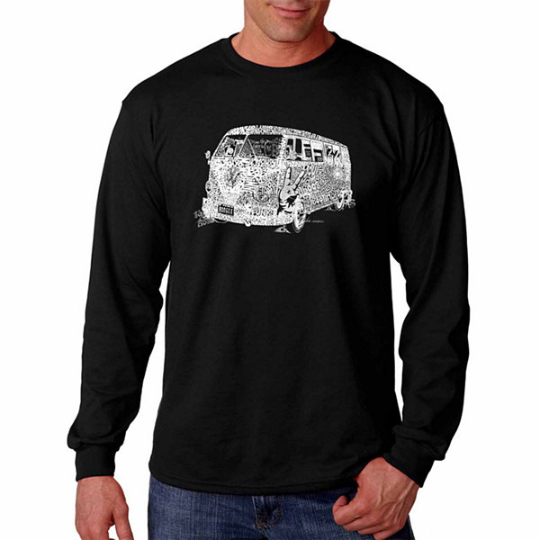 "Los Angeles Pop Art Graphic ""70S"" Word Art Long Sleeve T-Shirt"""
