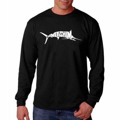 "Los Angeles Pop Art Graphic ""Marlin Gone Fishing""Word Art Long Sleeve T-Shirt"""