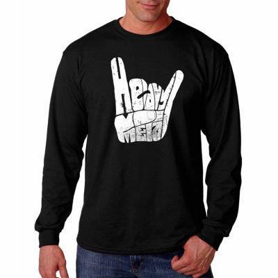 "Los Angeles Pop Art Graphic ""Heavy Metal"" Word ArtLong Sleeve T-Shirt"""