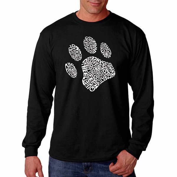 "Los Angeles Pop Art Graphic ""Dog Paw"" Word Art Long Sleeve T-Shirt"""