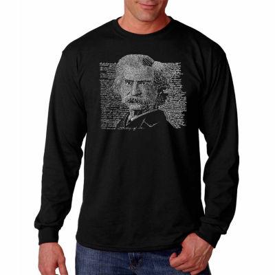 "Los Angeles Pop Art Graphic ""Mark Twain"" Word ArtLong Sleeve T-Shirt"""