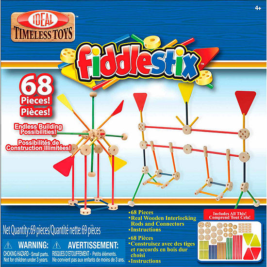 Ideal 68 Piece Fiddlestix Wood Connector Discovery Toy