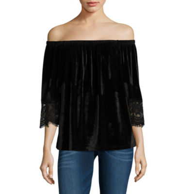 Wallpapher Lace Off-the-Shoulder 3/4 Sleeve Top