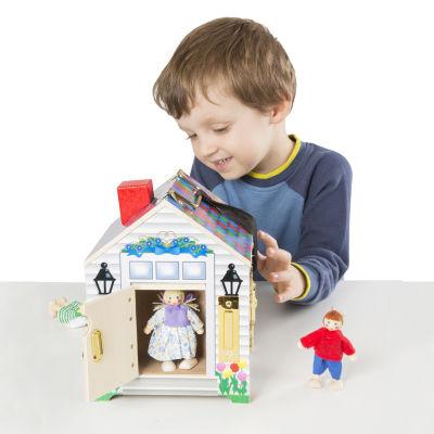 Melissa & Doug Take-Along Wooden Doorbell Dollhouse 5-pc. Toy Playset - Unisex