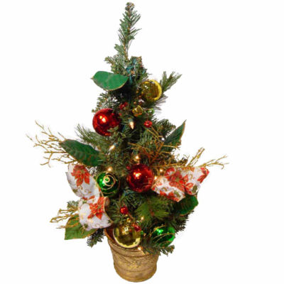 2' Poinsettia and Ball Ornament Pre-Lit DecoratedChristmas Tree - Clear Lights