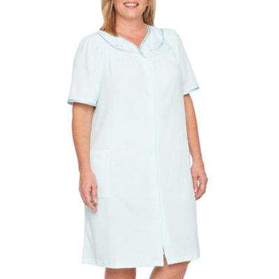 Adonna Womens-Plus Knit Robe Short Sleeve