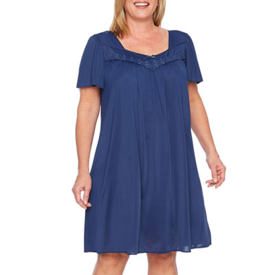 Collette By Miss Elaine Short Sleeve Tricot Nightgown