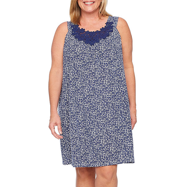 Adonna Jersey Sleeveless Scoop Neck Floral Nightgown-Plus