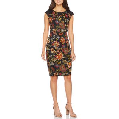 Melrose Cap Sleeve Floral Sheath Dress