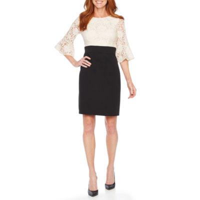 Perceptions 3/4 Bell Sleeve Lace Sheath Dress