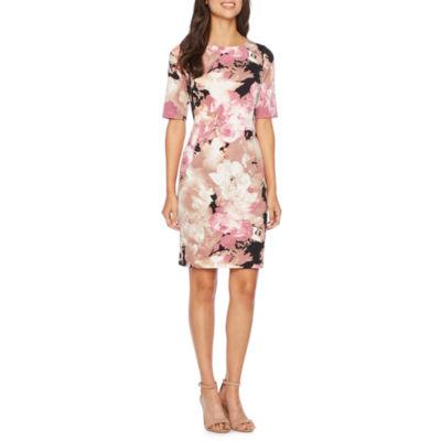 London Style Elbow Sleeve Floral Sheath Dress