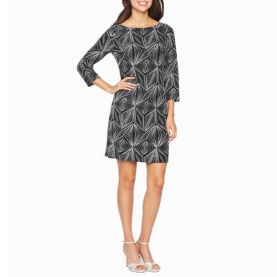 Jessica Howard 3/4 Sleeve Geometric Sheath Dress