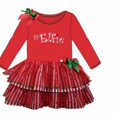 Bonnie Jean Long Sleeve Holiday A Line Dress Baby Girls