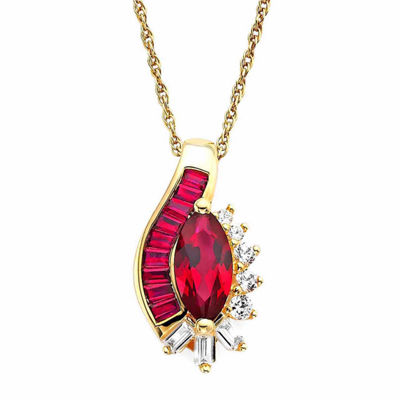 Lab-Created Ruby and Lab-Created White Sapphire 14K Gold Over Sterling Silver Pendant
