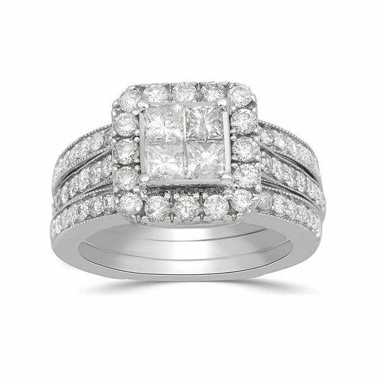 32956a13200 Womens 2 CT. T.W. Multi-Shape White Diamond 10K Gold Engagement Ring ...