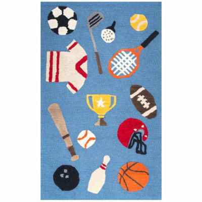 Rizzy Home Play Day  Collection Olive Sports Rectangular Rug