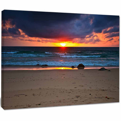 Designart Dramatic Colorful Sky Over Beach Seashore Canvas Print