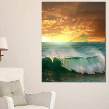 Design Art Stormy White Wave In Blue Sea Modern Beach Canvas Art Print